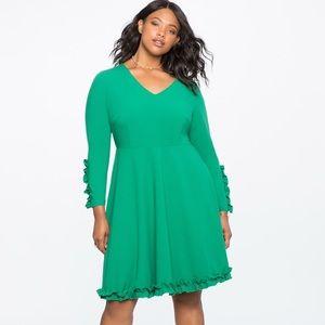Eloquii Ruffle Trim Crepe Swing Dress Plus Size